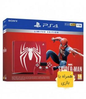 پلی استیشن 4 اسلیم نسخه محدود ظرفیت 1 ترابایت باندل اسپایدرمن (همراه بازی) PS4 Slim 1TB Spider-Man Bundle Limited Edition