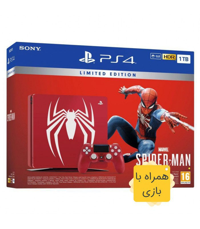 پلی استیشن 4 اسلیم نسخه محدود 1 ترابایت باندل اسپایدرمن (همراه بازی)  PS4 Slim 1TB Spider-Man Edition Bundle