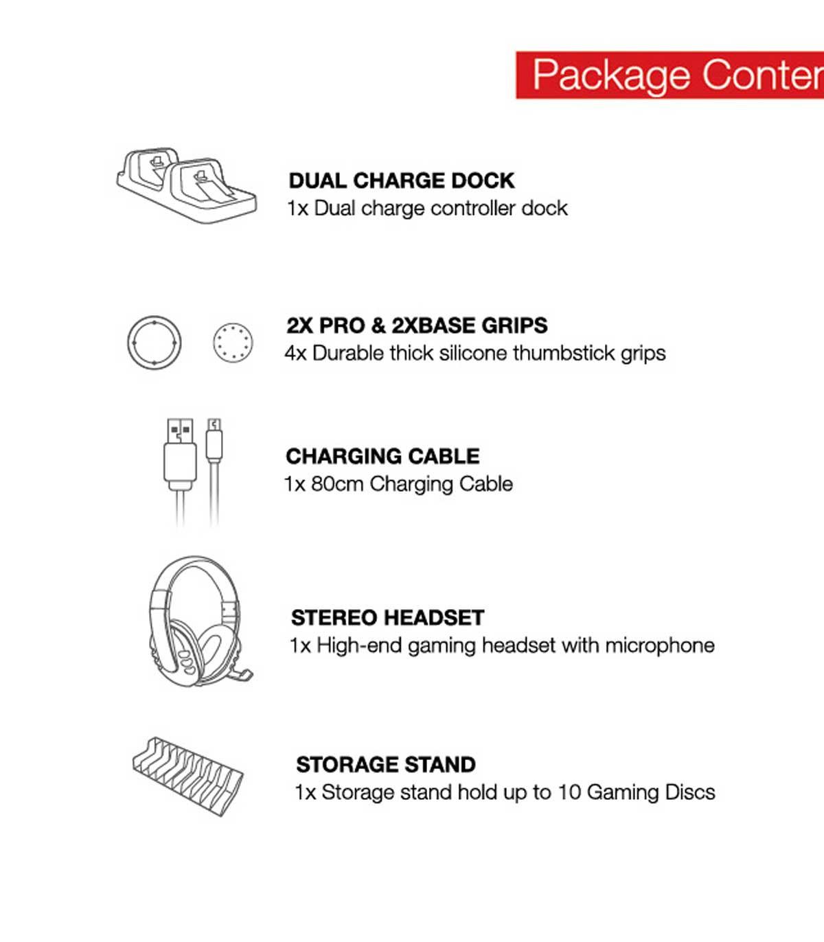 پک ۵ کاره لوازم جانبی DOBE 5 in 1 Game Pack - پلی استیشن 4