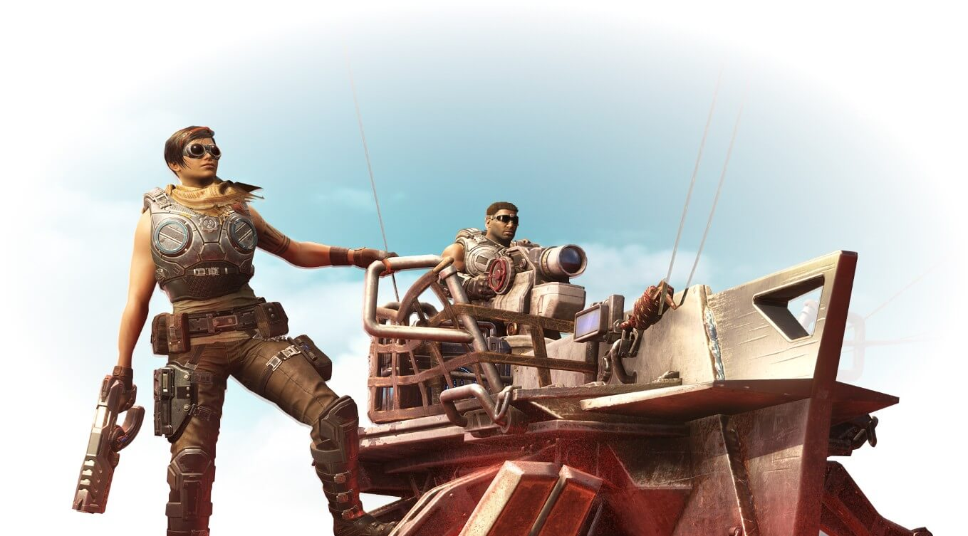 Gears 5. Kate Diaz holding onto a sand sailing vehicle.
