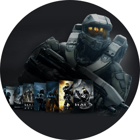 Master Chief stands behind a collection of games from the Halo franchise.