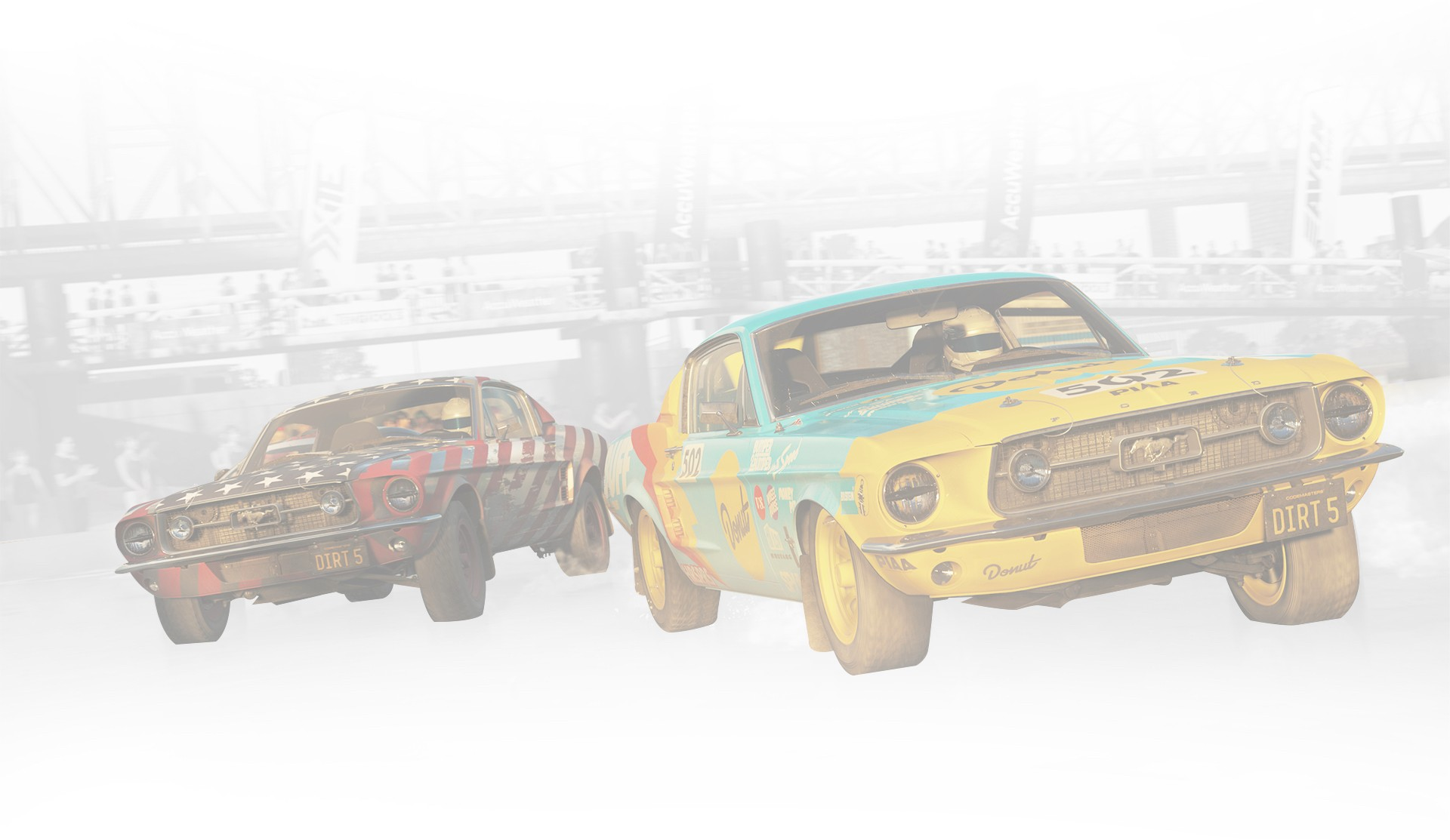 Dirt 5. Two Ford Mustangs race under an overpass.