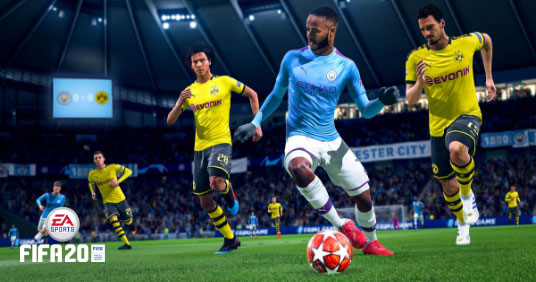 FIFA 20, Raheem Sterling dribbling against Dortmund