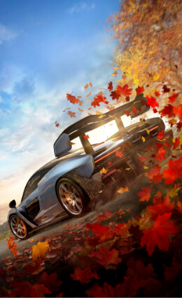 Forza Horizon 4, McLaren driving through leaves